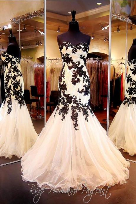 Black Lace Appliques Sweetheart Floor Length Tulle Mermaid Formal Dress, Prom Dress