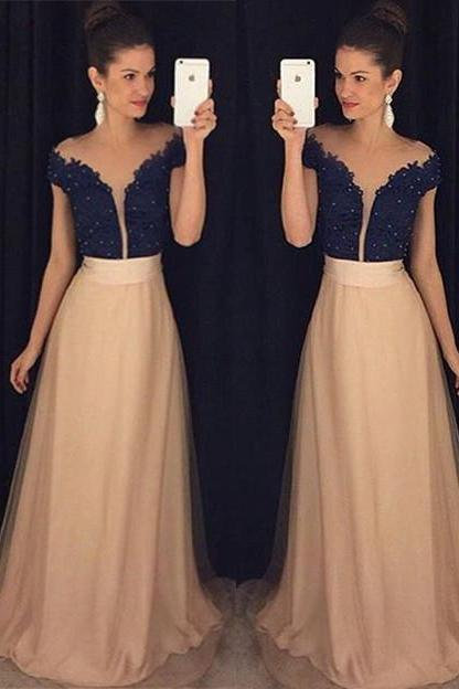 Modest Prom Dresses,Sexy New Prom Dress,New Arrival Short Sleeve Lace Prom Dress with Beading Custom Made A-Line Evening Gown,Formal Dress