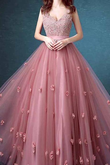 Prom Dress, Sexy Prom Dresses,Lace Floral Appliques Evening Dresses Cheap Sleeveless Long Prom Dresses,Formal Dress
