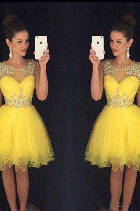 Homecoming Dress,Sexy Homecoming Dress,Homecoming Dresses,Sweet 16 Dress,2017 Homecoming Dress,Yellow Cocktail Dress,Cocktail Dress,Wedding Guest Prom Gowns, Formal Occasion Dresses,Formal Dress