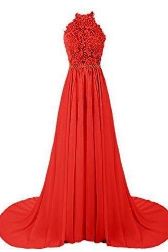 Red Lace Halter Neck Floor Length Chiffon A-Line Prom Dress Featuring Sweep Train, Evening Dress