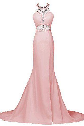 Blush Pink Halter Beaded Mermaid Long Prom Dress, Evening Dress
