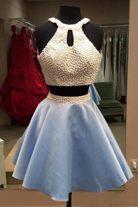 Homecoming Dress,Light Sky Blue Homecoming Dresses,Tulle Homecoming Dress,2 Pieces Prom Dress,Two Piece Cocktail Dresses,Sweet 16 Gowns, Formal Occasion Dresses,Formal Dress