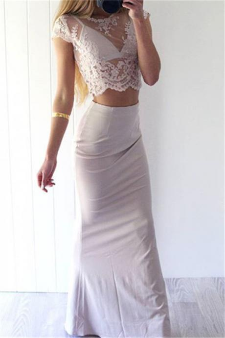 Charming Sexy Prom Dresses,White Lace Evening Gowns,Mermaid Party Dresses,2 pieces Evening Gowns,Modest Formal Dress,Evening Gown For Teens,Formal Dress