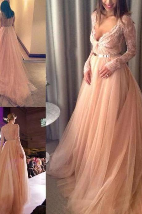 Prom Dress,Sexy Prom Dresses,Sexy 2017 V-Neck Beautiful Tulle Long-Sleeve Lace Long Evening Dress