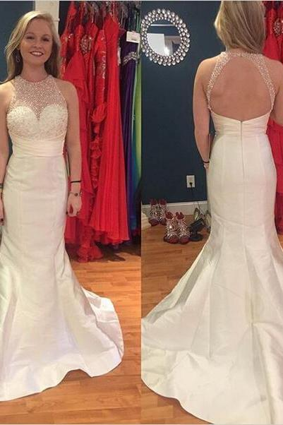 Prom Dress,Prom Dresses,Sexy 2017 Mermaid Beadings Charming Sweep-Train Sleeveless Zipper Evening Dress