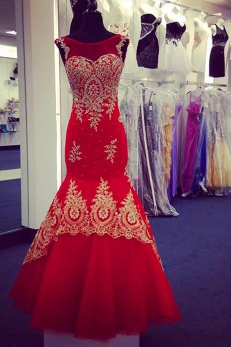 Prom Dress,New Arrival Prom Dress,Modest Prom Dresses,Red Mermaid Evening Dresses Gold Lace Appliques Cap Sleeves Prom Gowns