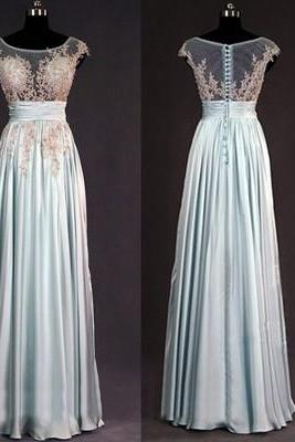 Bridesmaid Dress, lace bridesmaid dresses, dusty blue chiffon bridesmaid dress, long bridesmaid dress, bridesmaid dress , long prom dress