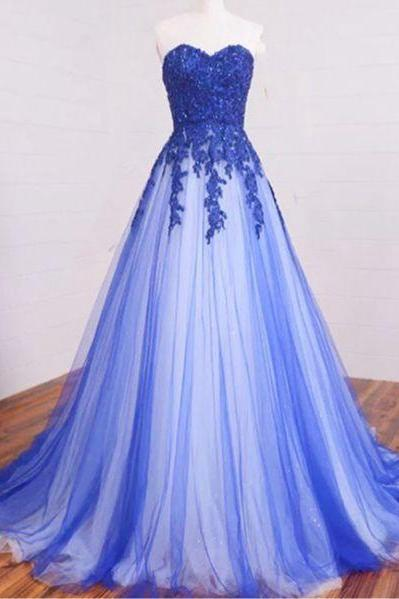 Custom Made Blue + White Sweetheart Neckline A-line Tulle Floor-Length Long Evening Dress, Prom Dresses, Formal Dress, Wedding Dress