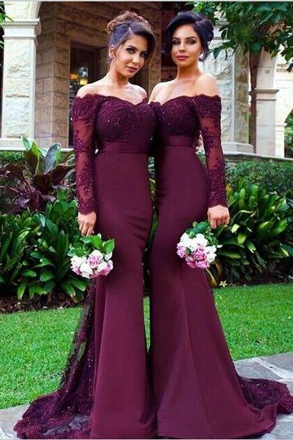 Long Sleeve Bridesmaid Dresses, Mermaid Long Bridesmaid Dress, Elegant Lace Bridesmaid Dress, Wedding Guest Dress, long bridesmaid dress, dress for wedding, wedding party dress,