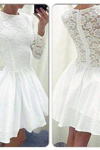 short homecoming dress, white lace prom dress, cheap long sleeve prom dress, party dress, formal homecoming dress, homecoming dress,