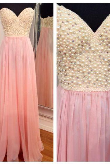 Sweetheart Neckline Chiffon Evening Dress, Bridesmaid Dress, Prom Dress with Pearl Embellishment