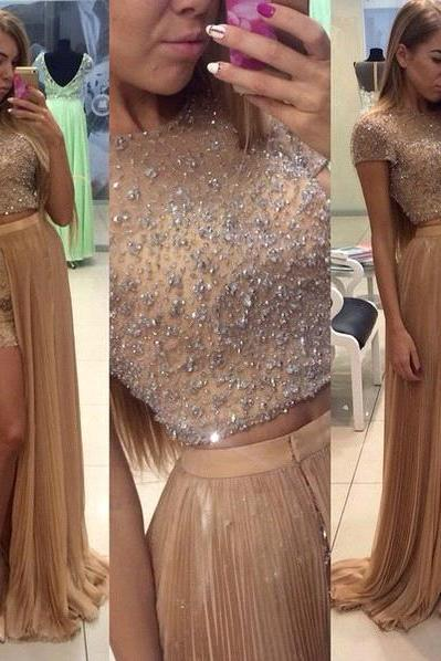 2016 Prom Dresses, Two Piece Prom Dresses, Short Sleeve Prom Dress, Beading Prom Dress, Long Prom Dress, Impression Prom Dress