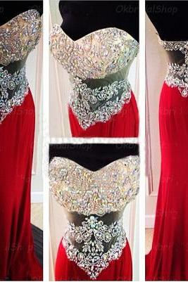 Red prom dress, long prom dress, sweet heart prom dress, sparkly prom dress, 2016 prom dress, on sale prom dress, popular prom dress, formal prom dress, evening dress gown,