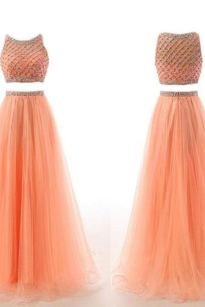 long prom dress, two piece prom dress, beading prom dress, pretty prom dress, tulle prom dress, popular prom dress, evening dress