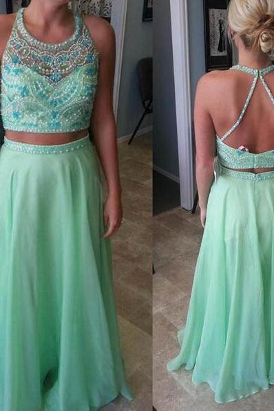 Long prom dress, two piece prom dress, green prom dress, open back prom dress, beading prom dress, popular prom dress, evening dress