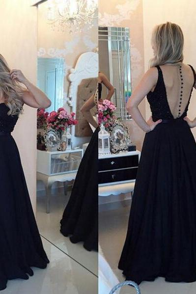 Long prom dress, black prom dress, sweet heart prom dress, elegant prom dress, modest prom dress, chiffon prom dress, evening dress,