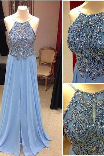 Long prom dress, blue prom dress, charming prom dress, modest prom dress, popular prom dress, elegant prom dress, custom prom dress, evening dress