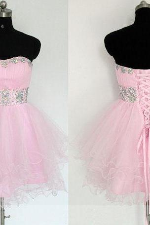 short prom dress, pink prom dress, sweet heart prom dress, cheap prom dress, knee-length prom dress, lace up prom dress, occasion dress, homecoming dress,