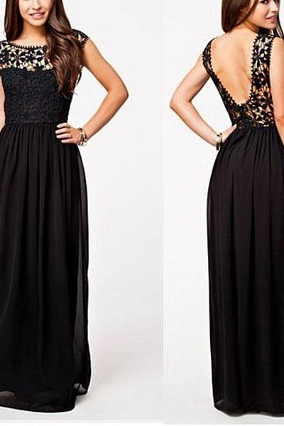 Floral Lace Bateau Neck Sleeveless Floor Length Chiffon A-Line Formal Dress Featuring Open Back, Prom Dress, Bridesmaid Dress