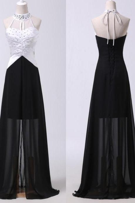 long prom dress, black prom dress, halter prom dress, elegant prom dress, white prom dress, chiffon prom dress, new arrival prom dress, evening dress