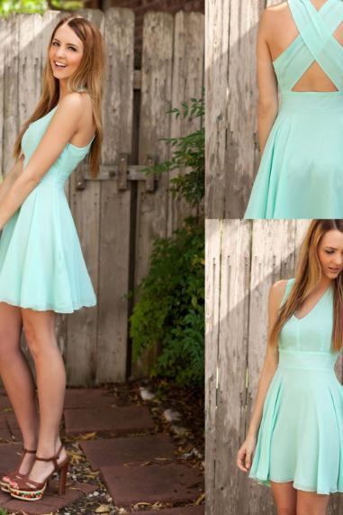 Mint Plunge V Sleeveless Short A-Line Dress Featuring Criss-Cross Open Back, Bridesmaid Dress