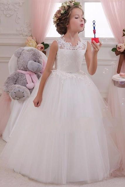 Children Dress,Flower Girls Dresses,Kids Dress,Child Clothing,Girl Brithday Party Dress,Princess Dress,Girl Party DressCheap White Lace Beach Flower Girl Dresses 2016 Glitz Pageant Dresses For Little Girls First Communion Dresses For Girls