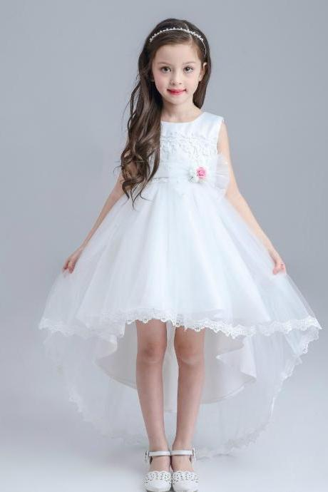 Flower girl dress.little girl dress, flower girl dress, High low dress, girls communion dress,girls wedding party dress,Flower GIrl Dresses.White flower girl dresses.