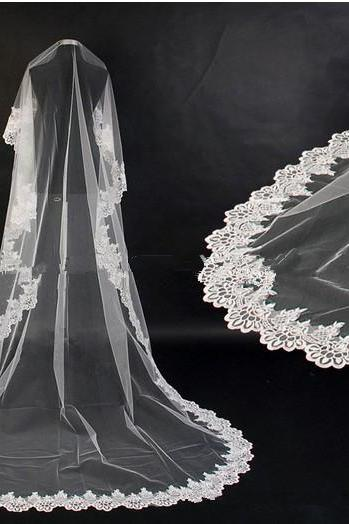 3m long Cathedral Lace Edge Wedding Veil Lace Mantilla bridal veil/bridal accessories/head veil/tulle veil