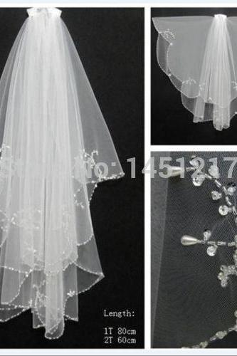 cheapWedding veil simple white/Ivory Wedding Veil Wedding tiara wedding veil/bridal veil/bridal accessories/head veil/tulle veil ,New 2T with Comb Handmade beaded White Ivory Beads Pearl Wedding Bridal Veil
