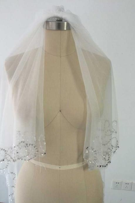 cheapWedding veil simple white/Ivory Wedding Veil Wedding tiara wedding veil/bridal veil/bridal accessories/head veil/tulle veil Wedding Veil - Two Tier Veil with Gorgeous FRENCH Lace Appliques Adorned with Swarovski Crystals, Embroidery veils Sequins
