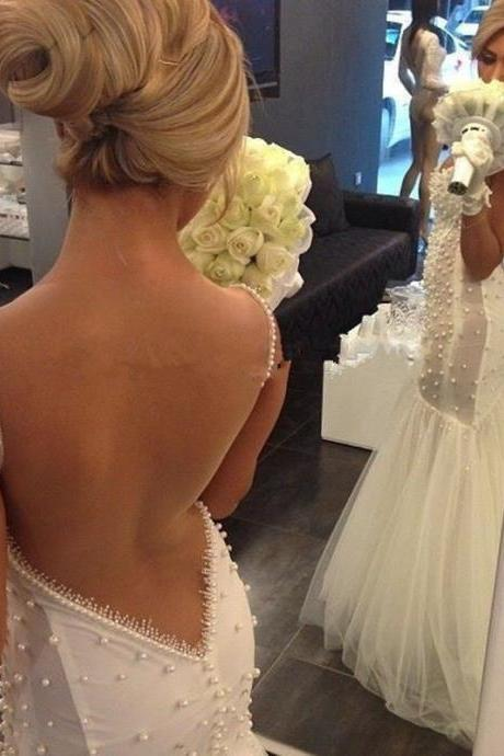 Wedding Gown,Backless Wedding Gown, Mermaid Wedding Gown, Sexy Wedding Gown, wedding Dress with Peals,Modest Wedding Gown