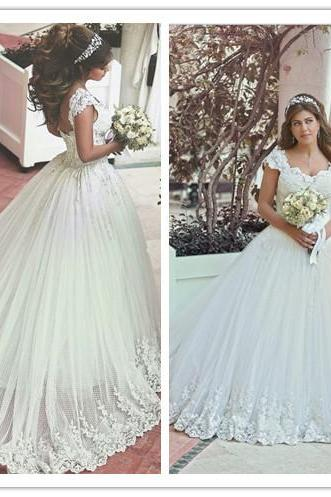 Wedding Dress, Lace-Up Wedding Dress, New Arrival Wedding Dress, Off Shoulder Wedding Dress, Long Bridal Gown with Beadings, Lace Wedding Dress, Applique Wedding Dress, Ball Gown Wedding Dress, Hot Sale Wedding Dress