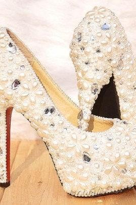 women high heel shoes with pearl ,Pearl Wedding Shoes, Bridal Shoes, Bridal, Women Peep Toe Shoes Lady Evening Party Club High Heel Dress Shoes,Gorgeous Unique Sparkling Ivory Crystal Flower Wedding Bridal Shoes Wedding Shoes, Bridal