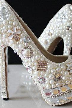 women high heel shoes,Pearl Wedding Shoes, Bridal Shoes, Bridal, Women Peep Toe Shoes Lady Evening Party Club High Heel Dress Shoes,Rhinestone Pearl wedding Shoes Crystal Bridal Shoes, Bridal, Women's Shoes Platform Dress Shoes