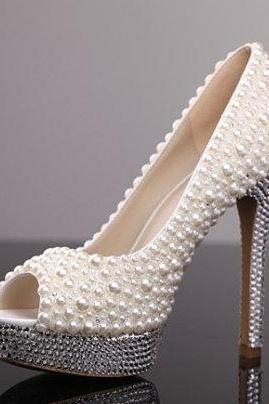 women high heel shoes ,Pearl Wedding Shoes, Bridal Shoes, Bridal, Women Peep Toe Shoes Lady Evening Party Club High Heel Dress Shoes,Pearl High Heel Shoes Rhinestone White Bridal Wedding Shoes, Bridal, bridal shoes, Lady formal occassions Dress Shoes Party Prom Shoes