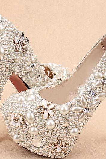 2017 customized Wedding Shoes High Heels pearl flower Bridal Shoes Platform Pumps closed toes bridesmaid high heels, Bridal Shoes, Bridal, Women Peep Toe Shoes Lady Evening Party Club High Heel Dress Shoes