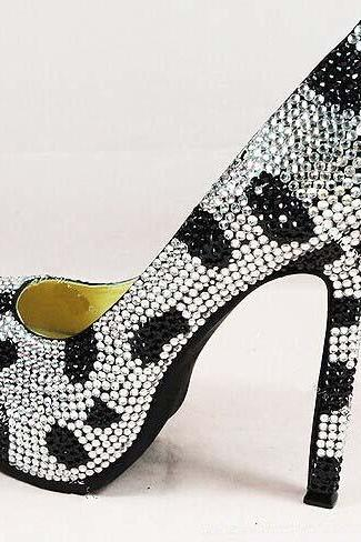 Fashion black white wedding Bridal shoes Cinderella Shoes Girl Dress Shoes Party Prom Shoes for Wedding Party Bridal Shoes, Bridal, Women Peep Toe Shoes Lady Evening Party Club High Heel Dress Shoes