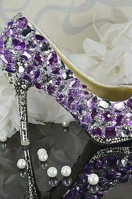 Women Purple Crystal Wedding Shoes Luxurious Beautiful Bridal Dress Shoes Women High heel party club Shoes, Bridal Shoes, Bridal, Women Peep Toe Shoes Lady Evening Party Club High Heel Dress Shoes