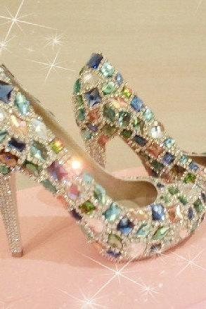 Bling Unique Crystal Diamond Wedding Bridal Shoes High Heel Waterproof Graduation Party Prom Evening Shoes, Bridal Shoes, Bridal, Women Peep Toe Shoes Lady Evening Party Club High Heel Dress Shoes