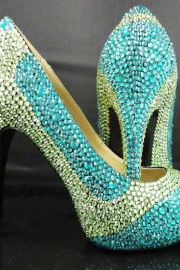 54ee104e5ae9 Handmade Crystal Rhinestone Bride Shoes Wedding Pumps Women blue green High  Heels Women s Bridal Dress Shoes