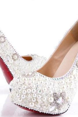 Pearl Wedding Shoes, Bridal Shoes, Bridal, Women Peep Toe Shoes Lady Evening Party Club High Heel Dress Shoes,Elegant Wedding Bridal Shoes Rhinestone with Imitation Pearl floral red bottom High Heel Wedding Dress Shoes Ecru White