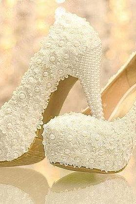 New Arrival White Lace Wedding Dress Shoes High heels Bridal Shoes with Pearls Party Prom Shoes Ladies Wedding Shoe, Bridal Shoes, Bridal, Women Peep Toe Shoes Lady Evening Party Club High Heel Dress Shoes