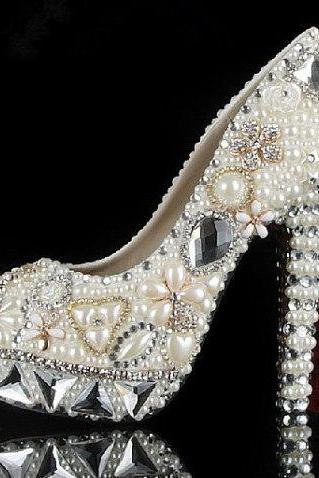 Pearl Wedding Shoes, Bridal Shoes, Bridal, Women Peep Toe Shoes Lady Evening Party Club High Heel Dress Shoes,Fashion Ivory Pearl Dress Shoes Peep Toe Women Rhinestone Bridal Shoes Wedding High Heel Shoes Party Prom Shoes