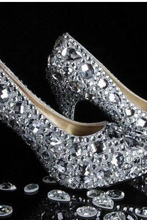 Pearl Wedding Shoes, Bridal Shoes, Bridal, Women Peep Toe Shoes Lady Evening Party Club High Heel Dress Shoes,Customized New Silvery white crystal strap Wedding Pump Shoes women's Rhinestone high heel Genuine Leather shoes