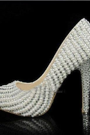 Pearl Wedding Shoes, Bridal Shoes, Bridal, Women Peep Toe Shoes Lady Evening Party Club High Heel Dress Shoes,Handmade Crystal Rhinestone Bride Shoes Pearl Wedding Pumps Women White High Heels Women's Bridal Dress Shoes Prom Heels
