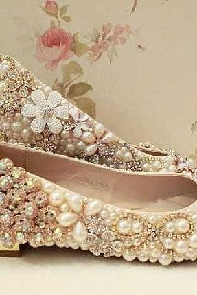 Pearl Wedding Shoes, Bridal Shoes, Bridal, Women Peep Toe Shoes Lady Evening Party Club High Heel Dress Shoes,Sparkling rhinestone crystal bridal shoes flat heel women luxury flats crystal wedding shoes Formal occassions Evening Party