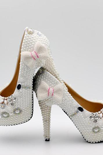 white Pearl Wedding Shoes, Bridal Shoes, Bridal, Women Peep Toe Shoes Lady Evening Party Club High Heel Dress Shoes