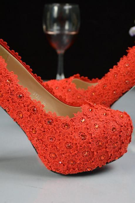 red Pearl Wedding Shoes, Bridal Shoes, Bridal, Women Peep Toe Shoes Lady Evening Party Club High Heel Dress Shoes