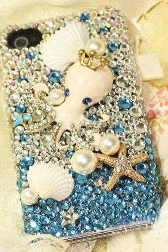 6c 6s plus Beach starfish shell Hard Back Mobile phone Case Cover luxury Rhinestone Case Cover for iPhone 4 4s 5 7plus 5s 6 6 plus